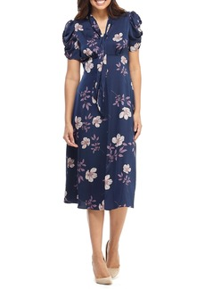 Maggy London Floral Charmeuse Midi Dress