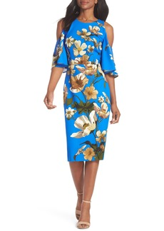 Maggy London Floral Cold Shoulder Sheath Dress