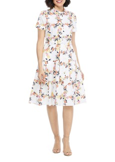 Maggy London Floral Cotton Shirtdress