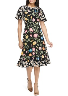 Maggy London Floral Crepe Fit & Flare Dress