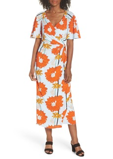 Maggy London Floral Crepe Midi Dress