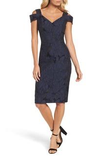 Maggy London Floral Jacquard Cold Shoulder Sheath Dress