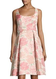 Maggy London Floral-Jacquard Fit-and-Flare Dress
