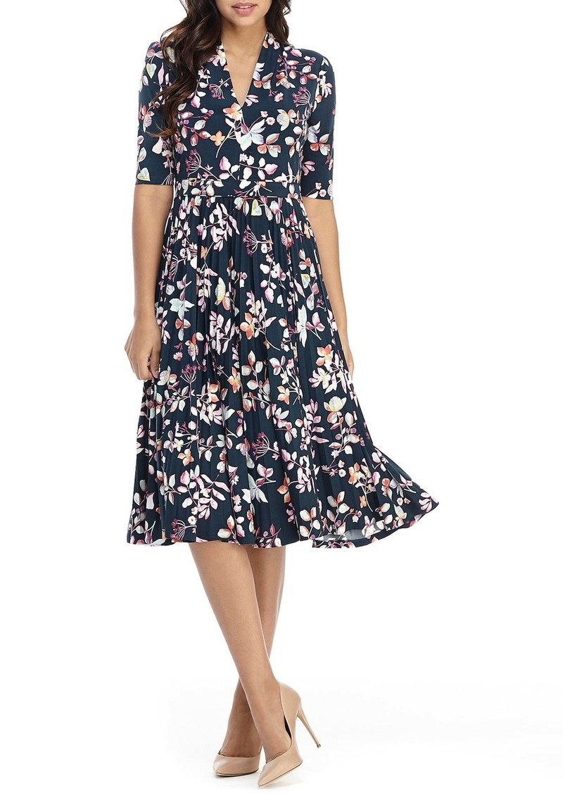 Maggy London Floral Pleated Fit & Flare Midi Dress