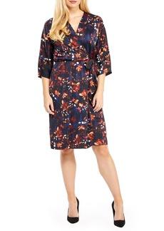 Maggy London Floral Print Charmeuse Faux Wrap Dress