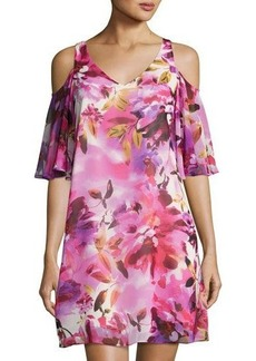 Maggy London Floral-Print Chiffon Shift Dress
