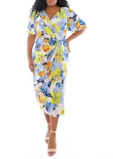 Maggy London Floral Print Faux Wrap Midi Dress (Plus Size)