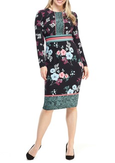 Maggy London Floral Print Long Sleeve Jersey Dress