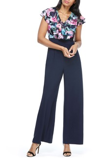 Maggy London Floral Print Ruffle Jumpsuit