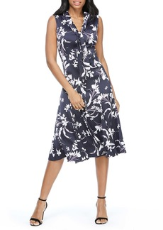 Maggy London Floral Print Tie Neck Satin A-Line Dress