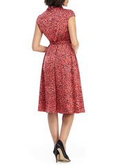 Maggy London Floral Roll Neck A-Line Dress