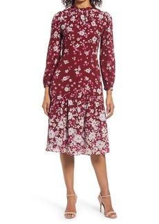 Maggy London Floral Ruffle Neck Long Sleeve Midi Dress