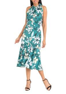 Maggy London Floral Tie Neck Halter Dress
