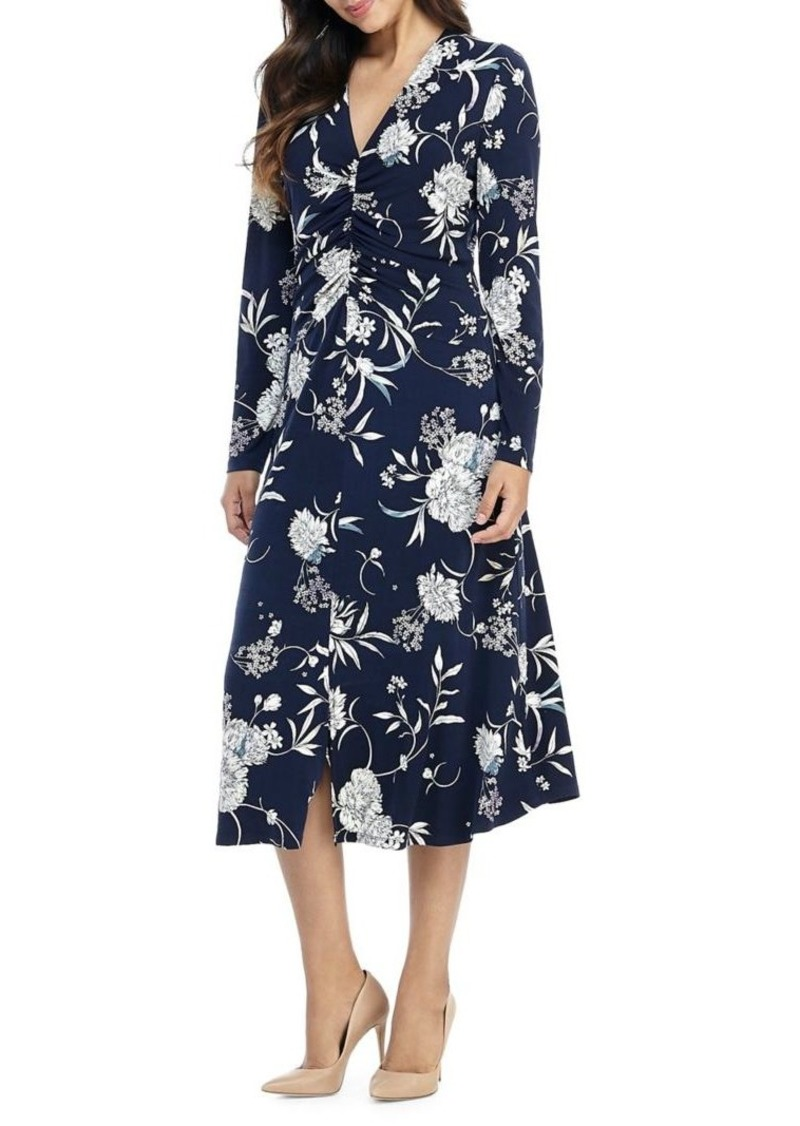 Maggy London Floral V-Neck Dress