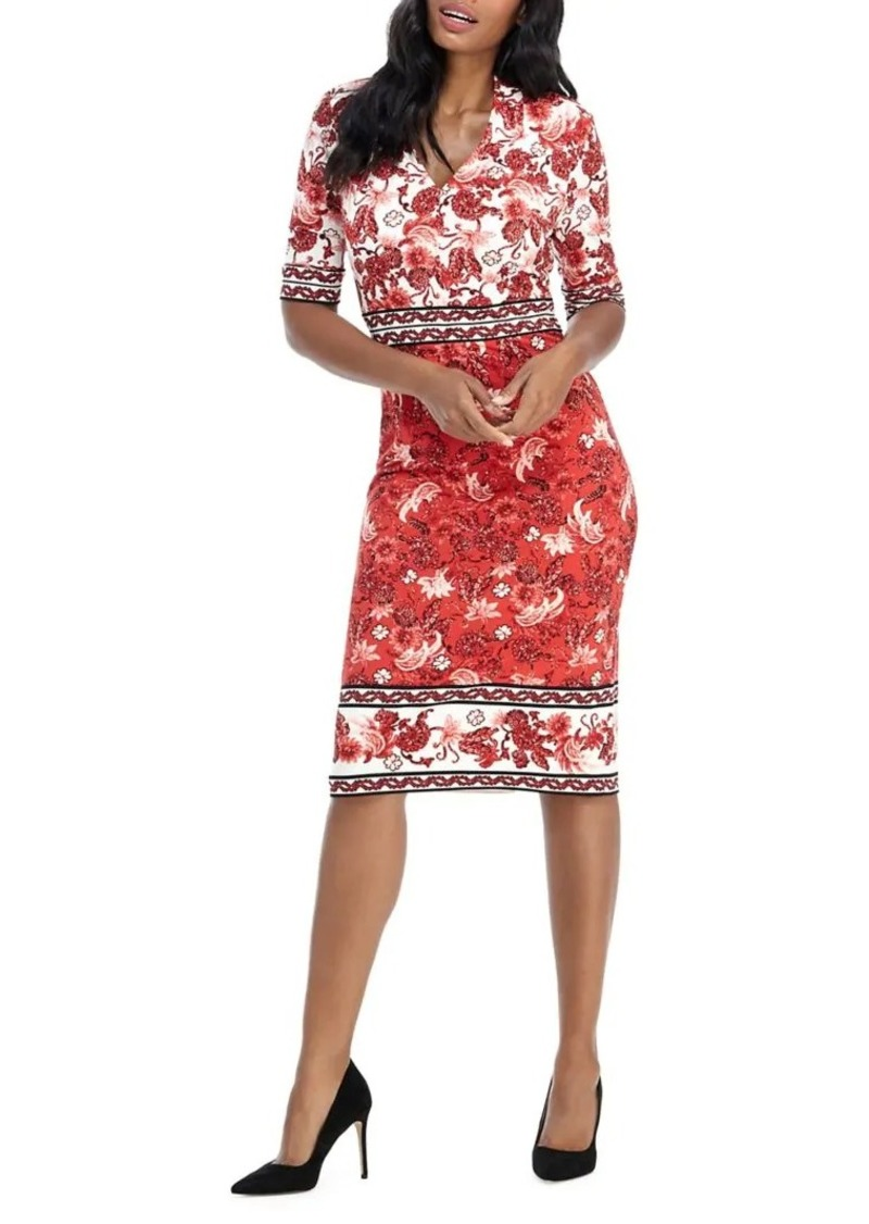 Maggy London Floral V-Neck Sheath Dress