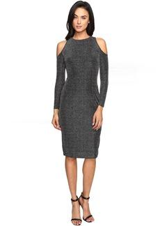 Maggy London Geo Lurex Novelty Cold Shoulder Sheather Dress