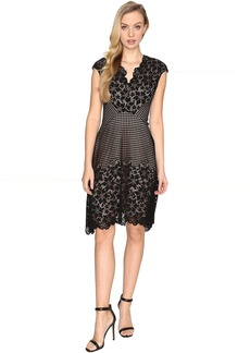 Maggy London Grid Flower Border Lace Fit and Flare Dress