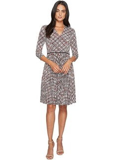 Maggy London Grid Plaid Printed Jersey Fit and Flare with Pleated Skirt