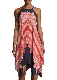 Maggy London High-Neck Sleeveless Printed Midi Dress