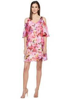 Maggy London Hot House Peony Cold Shoulder Chiffon Shift Dress