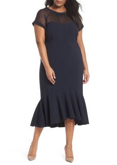 Maggy London Illusion Flare Hem Midi Dress (Plus Size)
