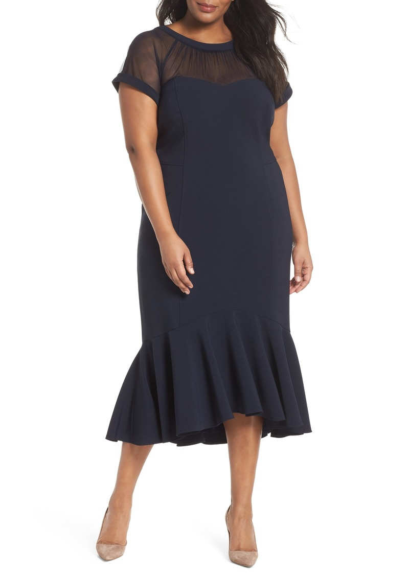 Maggy London Maggy London Illusion Flare Hem Midi Dress (Plus Size) |  Dresses