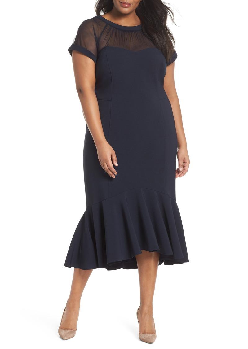 Maggy London Maggy London Illusion Flare Hem Midi Dress (Plus Size ...