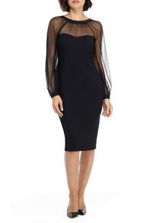 Maggy London Illusion Lace Long Sleeve Cocktail Dress