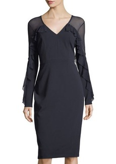 Maggy London Illusion V-Neck Long-Sleeve Sheath Dress