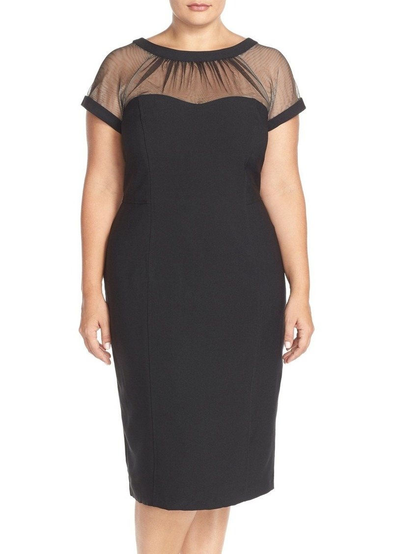 462318d8 Maggy London Maggy London Illusion Yoke Crepe Sheath Dress (Plus ...