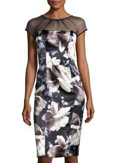 Maggy London Illusion-Yoke Floral-Print Dress