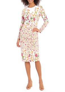 Maggy London Ity Floral Long Sleeve Jersey Sheath Dress