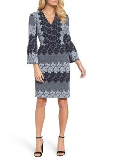 Maggy London Jacquard Bell Sleeve Dress