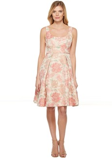 Maggy London Jacquard Bloom Fit and Flare Dress