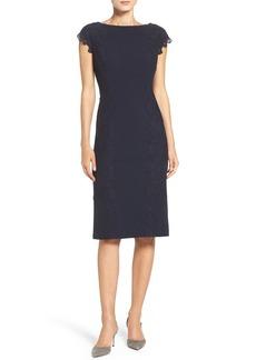Maggy London Lace Detail Crepe Sheath Dress (Regular & Petite)