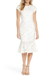 Maggy London Lace Flare Hem Midi Dress