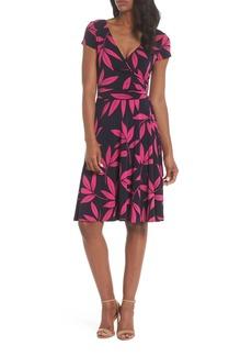 Maggy London Leaf Print Faux Wrap Dress (Regular & Petite)