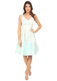 Maggy London Leafy Floral Brocade Fit and Flare Dress