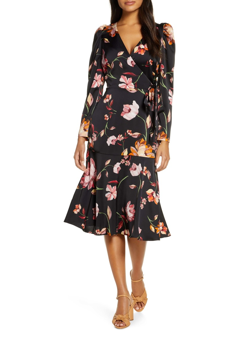 Maggy London Long Sleeve Faux Wrap Dress