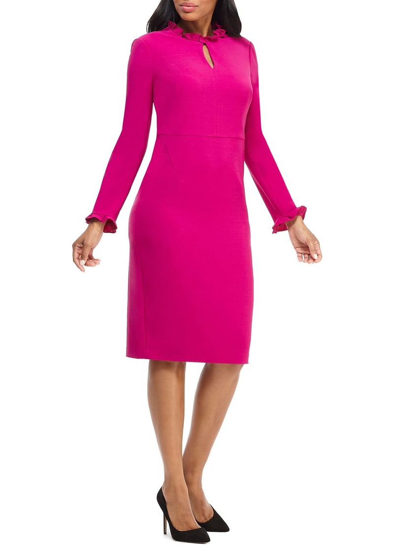Maggy London Long Sleeve Ruffle Sheath Dress