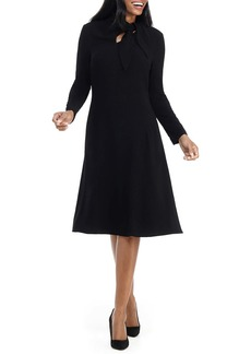 Maggy London Long Sleeve Tie Neck Dress