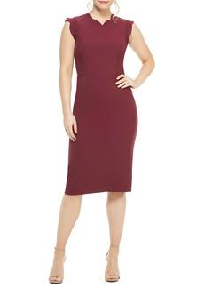 Maggy London Lucy Scallop Cap Sleeve Sheath Dress