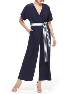 Maggy London Marina Tie Belt Short Sleeve Jumpsuit