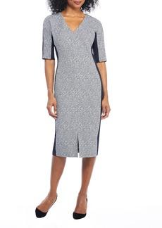Maggy London Metallic Ribbed Tweed V-Neck Sheath Dress
