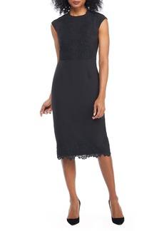 Maggy London Mystic Crepe & Lace Midi Dress (Regular & Petite)