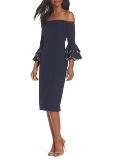 Maggy London Off the Shoulder Crepe Sheath Dress