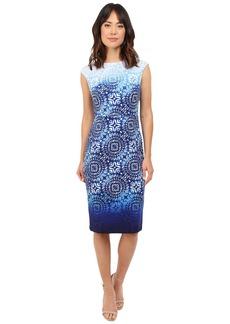 Maggy London Ombre Batik Printed Scuba Sheath Dress with Cap Sleeve