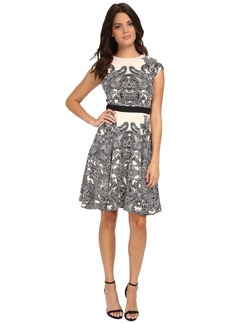 Maggy London Orange Flower Scroll Printed Scuba Fit and Flare