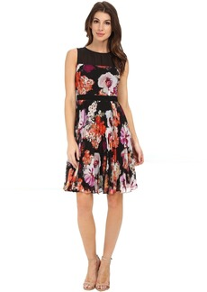 Maggy London Paint Brush Flower Chiffon Fit and Flare