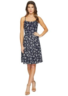 Maggy London Petite Sprig Printed Eyelet Fit and Flare Dress